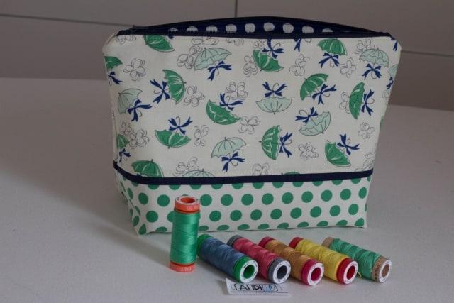 Tasche grün mit Garnrollen